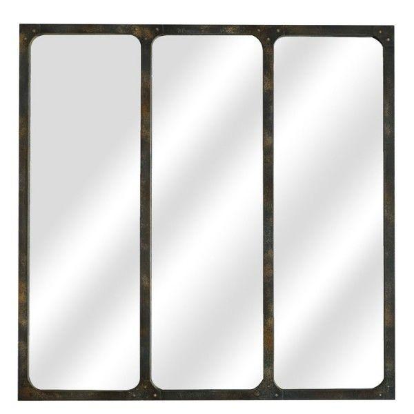 Miroir mural en métal 3 bandes verticales 70x70cm MARCO pas cher