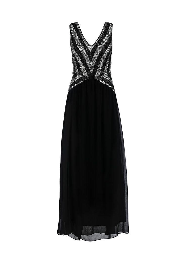 Вечернее платье-макси от бренда LAMANIA выполнено из струящегося матового текстиля черного цвета. Ли