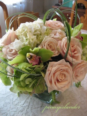 Blush roses, white hydrangea, green orchids
