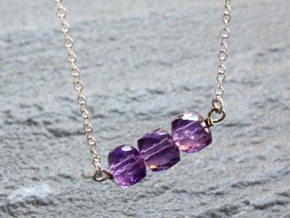Amethyst Necklace purple gemstone bar Sterling Silver