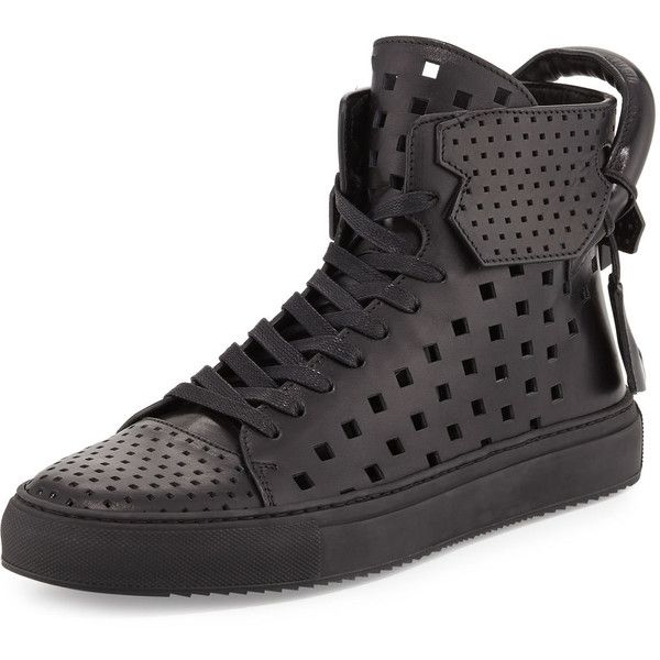 Buscemi Men's 125mm Perforated Leather High-Top Sneaker (4.008.530 COP) ❤ liked on Polyvore featuring men's fashion, men's shoes, men's sneakers and black