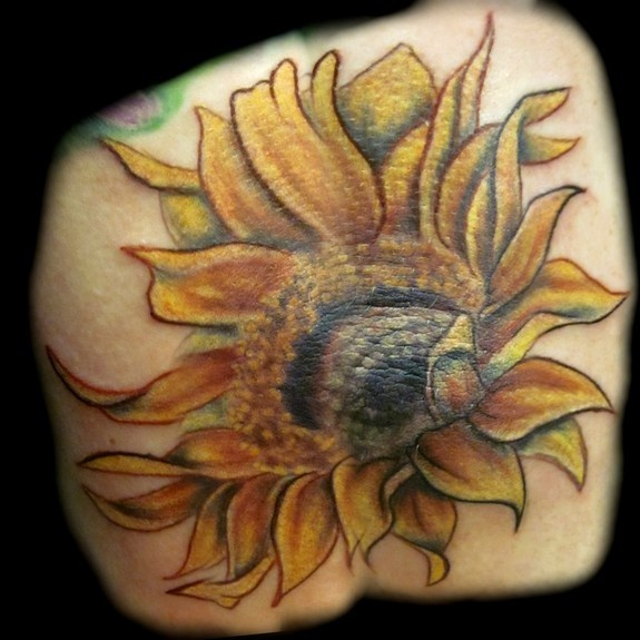 sunflower elbow tattoo possibly used to anchor the blue ribbon mid arm tattoo pinterest. Black Bedroom Furniture Sets. Home Design Ideas
