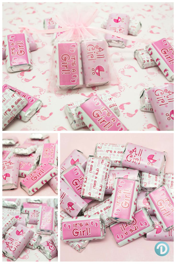 Pink Tiny Footprint Collection - It's a Girl Sticker Wrappers to Make the Cutest Hershey Miniatures Candies for a Baby Shower.