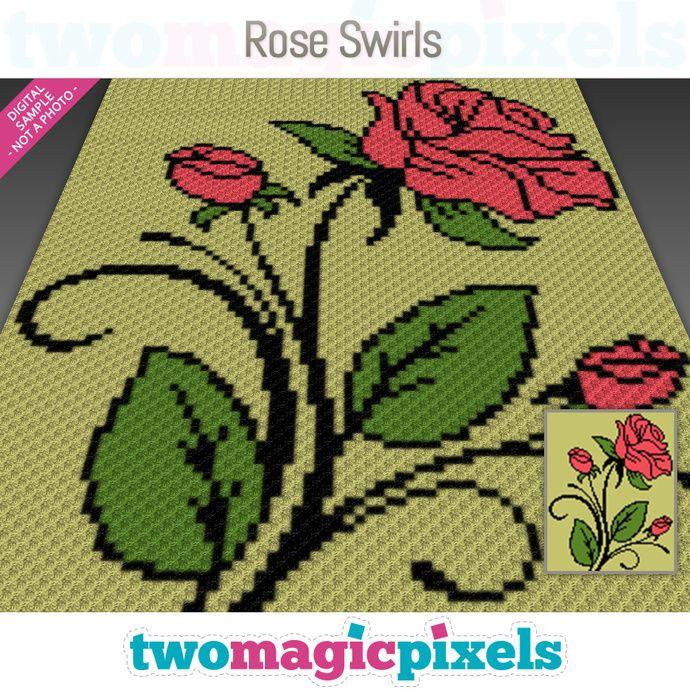 Rose Swirls crochet graph (C2C, Mini C2C, SC, HDC, DC, TSS