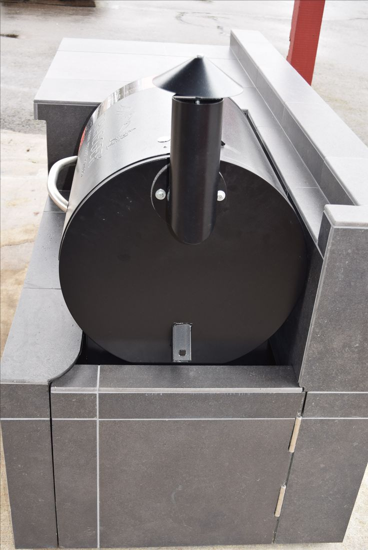 Outdoor kitchen for the traeger pellet grill we custom for Outdoor bbq grill cabinets