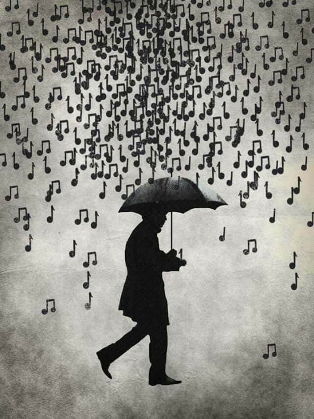 Raindrops falling an...