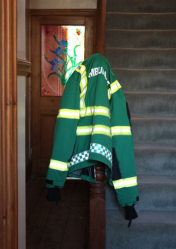 green window stairs stripes stainedglass ambulance hallway jacket staircase redhill dayglo canoneos450d minorcatastrophe