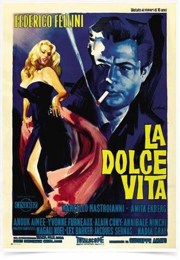 Comprar Poster Cinema Filme La Dolce Vita impresso com tecnologia HighHD de alta definição em papel semi-glossy especial com gramatura 250g no tamanho A3 (42x29cm) com cores vibrantes.