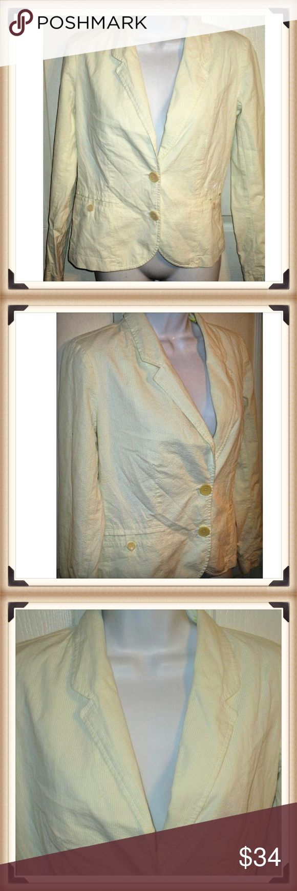 LACOSTE Pale Yellow Seersucker Blazer SZ 36 US 6 This is white and yellow Striped Seersucker Jacket  Size 36... Womens Size 6  The bust measures 36 inches and length is 22 1/2 inches  Fully lined Lacoste Jackets & Coats Blazers