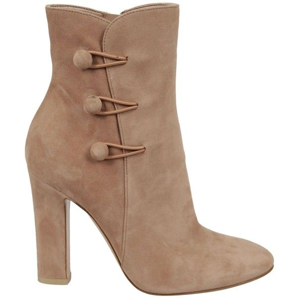 Gianvito Rossi Savoie Ankle Boots ($665) ❤ liked on Polyvore featuring shoes, boots, ankle booties, ankle boots, heels, praline, zip ankle boots, button boots, beige boots and bootie boots