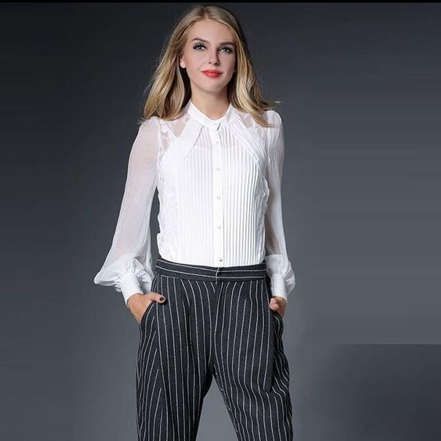 Best Quality New Luxury Brand Shirt 2015 Autumn Women Pleated Embroidery Crystal Button Long Sleeve Tops White Shirt Blusas XL Price on the app: US $55.04 US $55.74 /piece click the link to buy http://goo.gl/YJxPC6