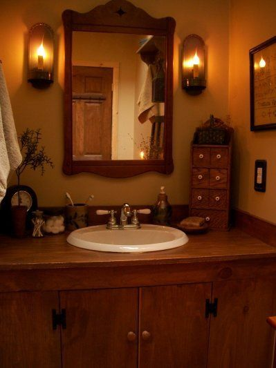 primitive bathroom**need corner unit like this for my lower bath