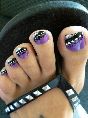 Nail Designs with Rhinestones | Big toe rhinestones and the rest dots.