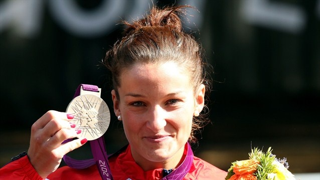 Elizabeth Armistead of Great Britain celebrates her country's first medal of the 2012 Olympic Games.