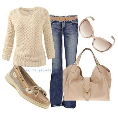 Can't go wrong with beige! Jeans, and a classic brown or beige sweater plus sperry's are perfect:)