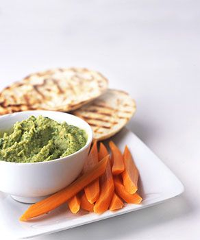Chickpea Cilantro Dip with Grilled Pita and Carrot Sticks from Epicurious.com #myplate #veggie #protein