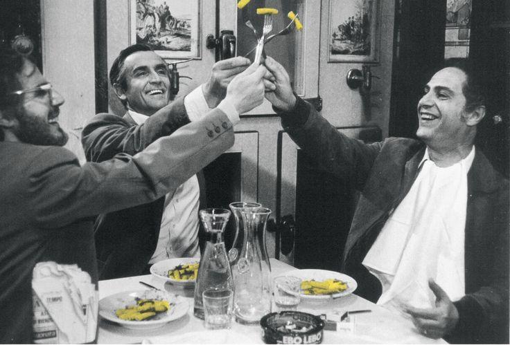 Nino Manfredi, Vittorio Gassman, Stefano Satta Flores, C'eravamo tanto amati, un film di Ettore Scola - 1974