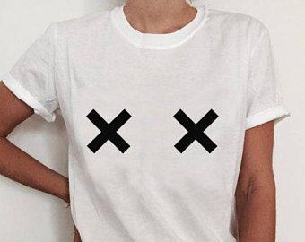 826ae83b0bfd Cross Boobs Shirt, Breast Tee, Boob Tee, Free The Nipple Shirt, Tits Shirt,  Aesthetic Clothing, Tumblr Shirts, Boobie Shirt, Femme Shirt