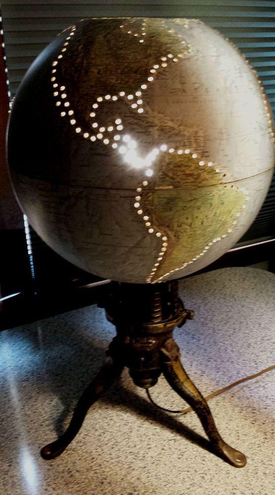 Vintage Steam punk Industrial World Globe Lamp Repurposed Xmas Tree stand Base #Repurposed #Novelty