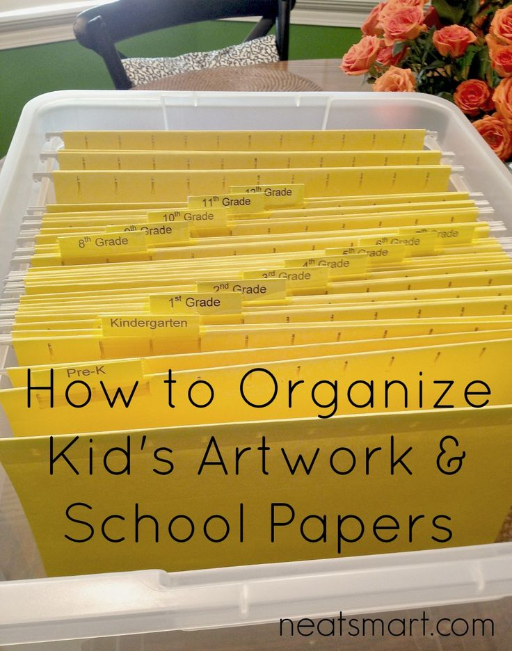 How do you organize the constant stream of school papers and artwork that your kids bring home? http://neatsmart.com