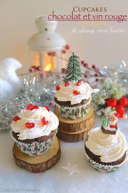 Cupcakes chocolat et vin rouge, insert brunoise de poire, glaçage crème fouettée (Cook A Life! by Maeva)