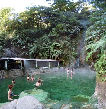 LAS FUENTES GEORGINAS Volcanically heated hot springs in QUETZALTENANGO, GUATEMALA