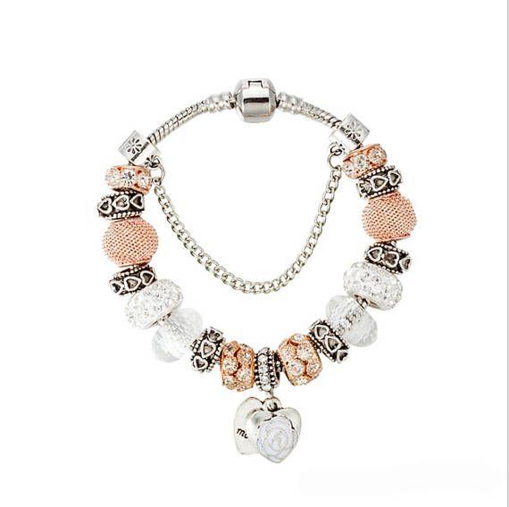 Lusso argento perline cristallo Charms fiore amore