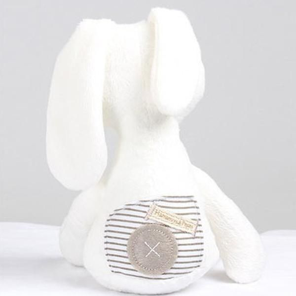 Plush Whit Bunny with Patchwork Behind