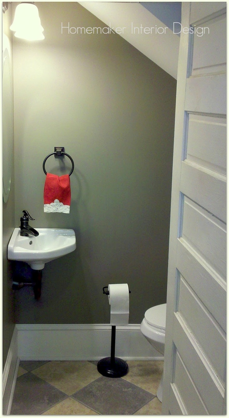 Powder room under the stairs #powderroom