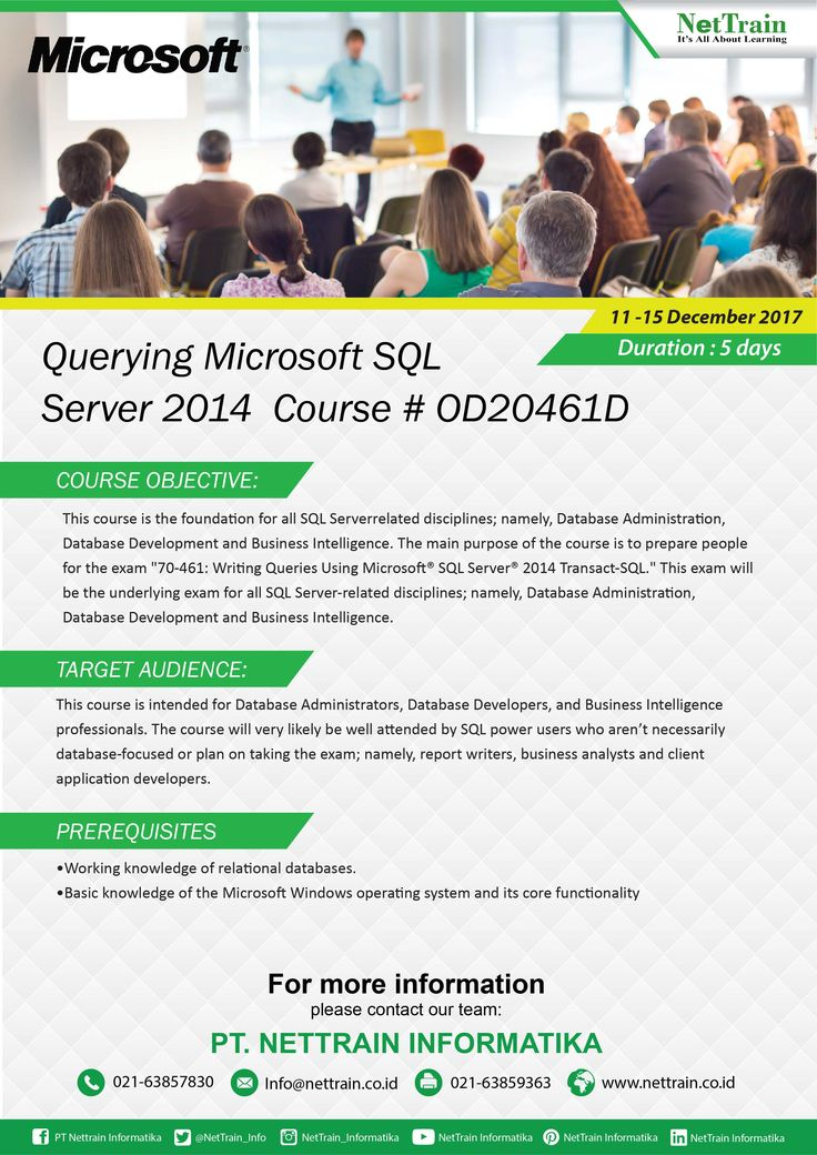 This 5-day instructor led course provides students with the technical skills required to write basic Transact-SQL queries for Microsoft SQL.  #InfoNetTrain #Training #Querying #Microsoft #SQL #Server #Network #discusses #Resolve