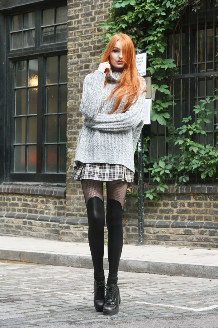 Olivia Emily - Adorable combo, plaid mini, wooly jumper, fishnet layering. Very cool indeed!