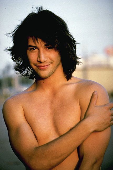 Young Keanu Reeves. He looks like a little boy in this picture. Probably doesn't belong on this *man* board. LOL!