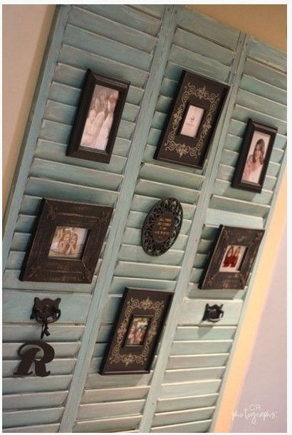 Louvered door - cool idea, not too hip on the pictures but what else could you put?