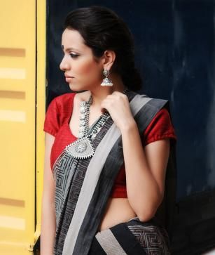 Dialogues in Design: Natural-Dyed, Block-Printed Sarees from Andhra Pradesh @ www.jaypore.com