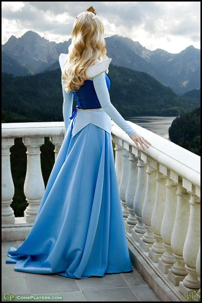 Make it blue! It's blue most of the movie and the only reason they market her in pink is to separate her from Cinderella. Aurora's dress is angular while Cinderella's is rounded. Got it! I need this dress/costume!!!