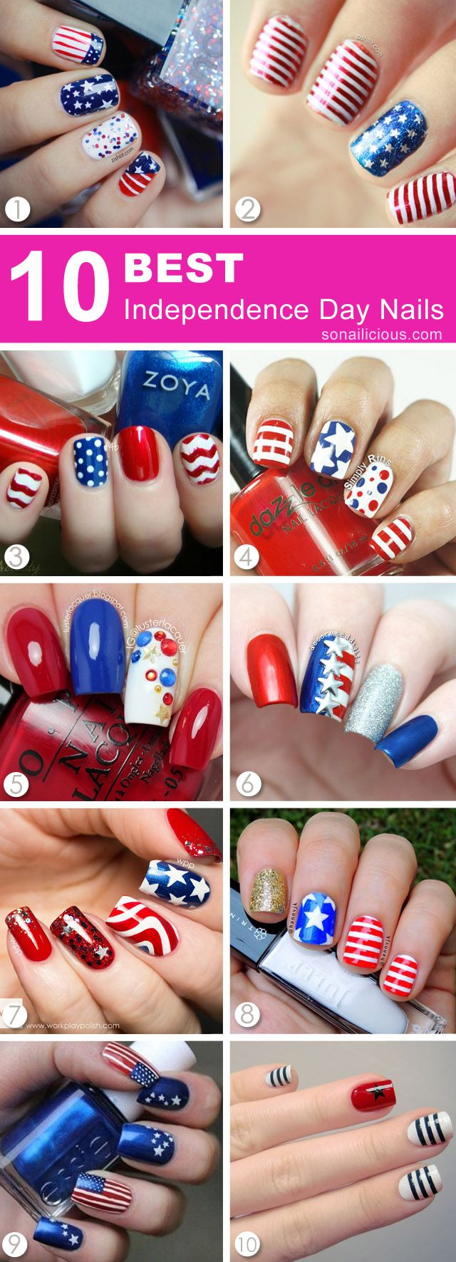best 4th of july nails, independence day nails