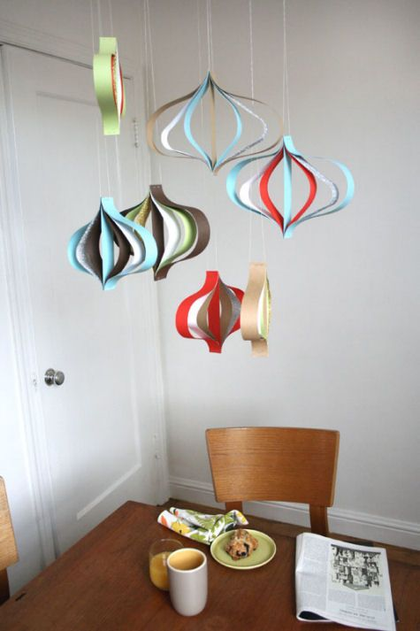 I like the idea of these construction paper hangings for a winter wedding, or anytime! Simple to make, really bold and fun, and definitely budget friendly.
