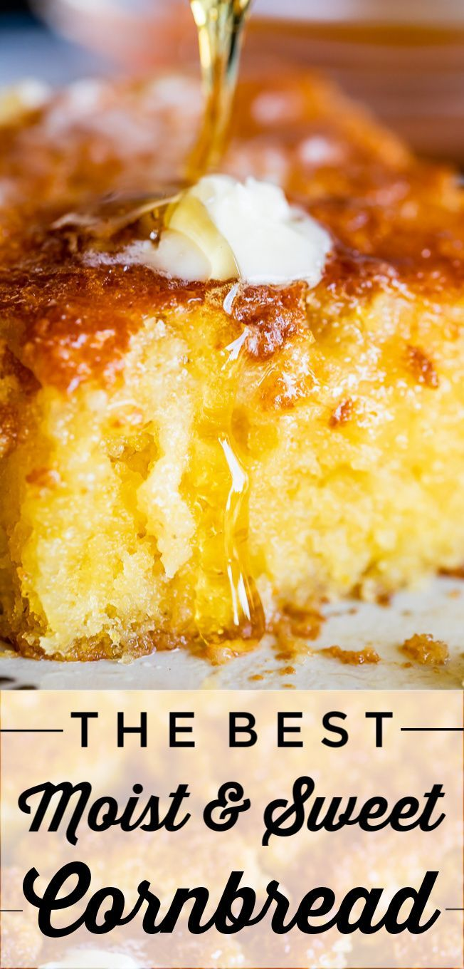 Sweet and Moist Honey Cornbread from The Food Charlatan. This is my favorite homemade cornbread recipe! It is very moist thanks to a little oil added ...