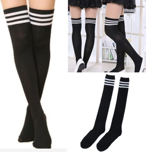 Women-Sexy-fashion-Thigh-High-black-Striped-Cotton-Socks-Over-Knee-Stockings