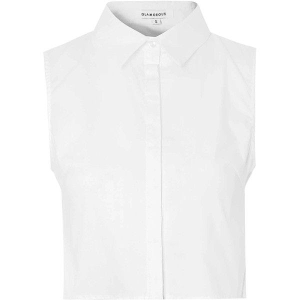 White Cropped Button Down Blouse found on Polyvore featuring tops, blouses, shirts, crop tops, white, white sleeveless shirt, white blouse, white collared blouse, button-down shirts and white shirt