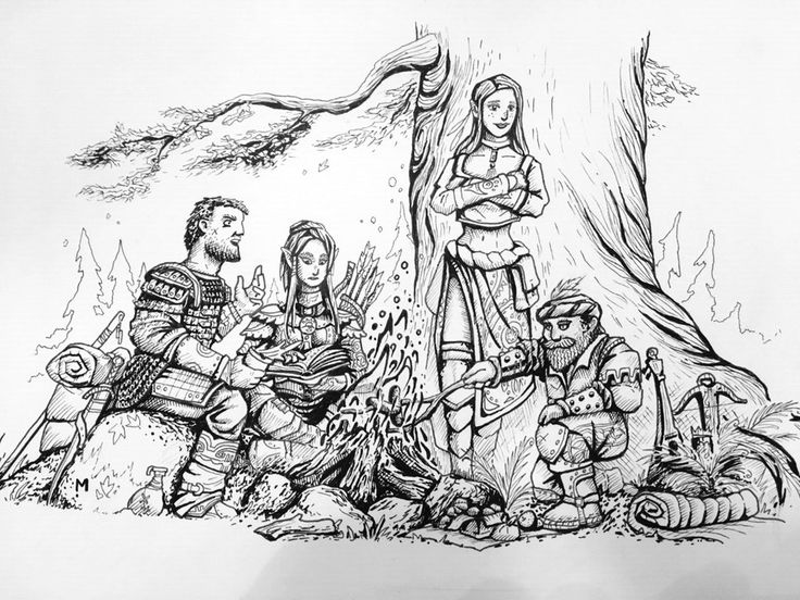 [Art] I drew my PCs after our second session. This is my first post on Reddit. : DnD