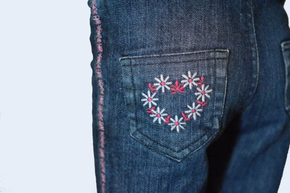 Girls Stylish Skinny Jeans with Floral decorative by PetiteLettie