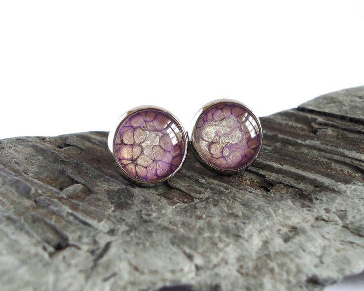 Purple creamy black stud earrings post earrings by BakGuri on Etsy