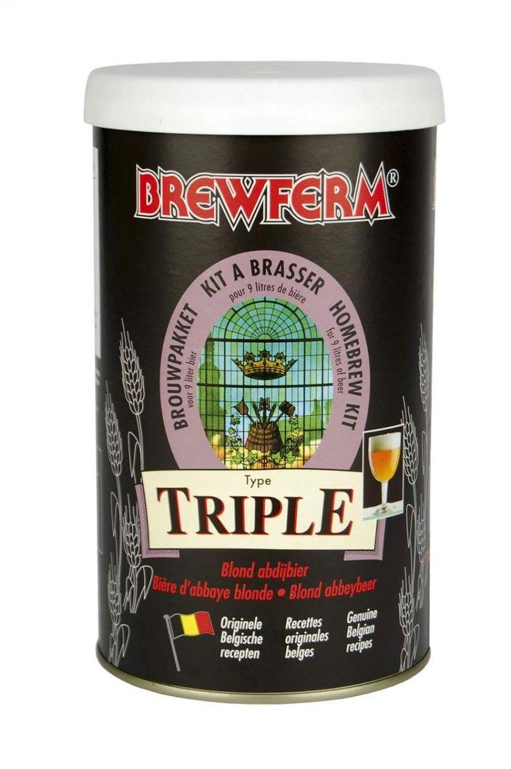 """BREWFERM TRIPLE   Son derece lezzetli bir manastır birasıdır. Altın renginde,yumuşak , aynı zamanda güçlü bir malt rayihasına sahiptir. Tarife adını veren """"Triple"""" """"Üç  katı"""" anlamına gelir ve bu bira kitiyle fermantasyon sonrası elde edilecek alkol oranı % 8'dir . Belçika'nın bu efsanevi manastır birasını Brewferm kalitesiyle en hesaplı şekilde kendi evinizde yapabilirsiniz.  Başlangıç yoğunluğu (OG) : 1.075.   9 litre için.  #beer #brewferm #bira #triple"""