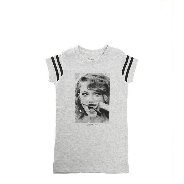 Little Eleven Paris Taylor Swift Dress ($58) ❤ liked on Polyvore featuring dresses, k elevenparis, white tee shirt dress, cotton tee shirt dress, tee dress, white tee dress and cotton tee dress
