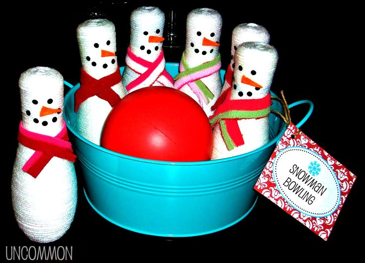 This is a great holiday game! Snowman Bowling~ is done with a ball and these cute yarn wrapped guys.