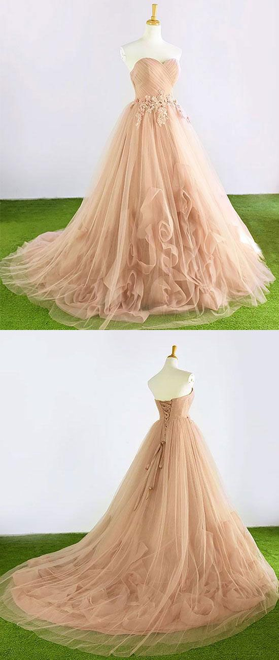Champagne sweetheart neck tulle long prom dress, evening dress, champagne tulle wedding dress