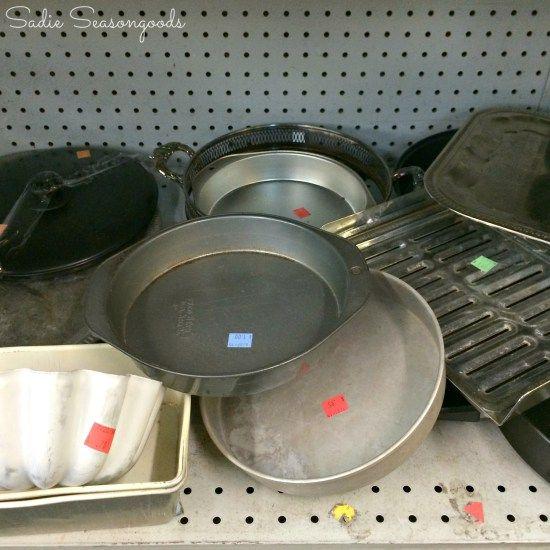 Cake pans at thrift store to be repurposed as DIY stepping stone molds / www.sadieseasongoods.com