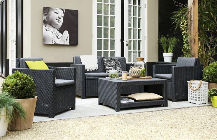 Loungeset Monaco: compact formaat en daarom ideaal voor onder een overkapping of op een dakterras #tuin