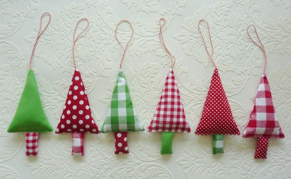 Christmas Tree Ornaments 6 Fabric Christmas Decorations in green, red and white via Etsy